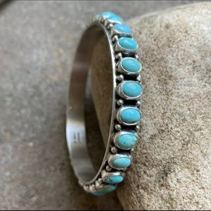 Jewelry - N.A.Sterling Silver Turquoise Bangle Bracelet. H P
